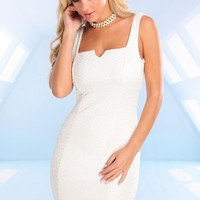 Ivory Sleeveless Metallic Shimmer Dress with Low Scoop Back