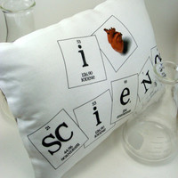 I Heart Science Pillow Silver by ShopGibberish on Etsy