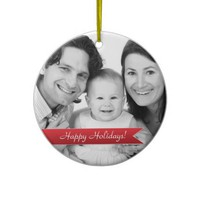 Elegant Happy Holidays Red Ribbon Family Photo Christmas Ornament