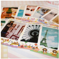 Animal Circus Instax Mini Film Frame Sticker Set