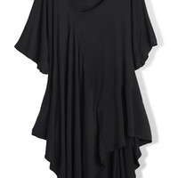 ROMWE | Asymmetrical Hemmed Draped Black T-shirt, The Latest Street Fashion