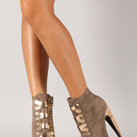 Privileged Surrender Metallic Shield Platform Bootie
