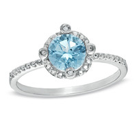 6.0mm Aquamarine and Diamond Accent Frame Stack Ring in 10K White Gold
