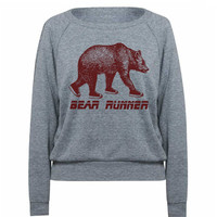 Womens Bear Runner Tri-Blend Raglan Pullover Sweater - American Apparel Sweatshirt - S M and L (6 Color Options)