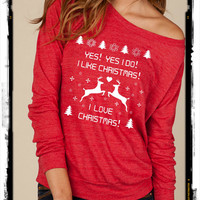 Ugly Christmas sweater contest reindeer snowflake Slouchy Pullover long sleeve Girls Ladies shirt sweatshirt screenprint Alternative Apparel