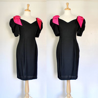Vintage 80s Black Wigge Party Dress