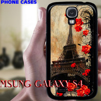 Paris Eiffeltower w Roses SAMSUNG Galaxy S4 hard case, plastic hard cover