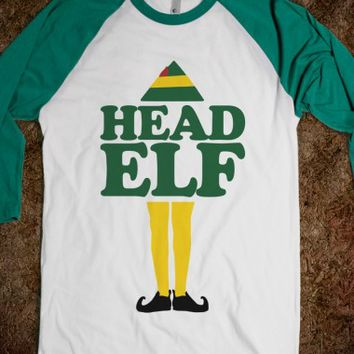 Head Elf-Unisex White/Evergreen T-Shirt