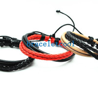 set of 3 bracelet, real leather bracelet women Leather Bracelet Men leather bracelet, Christmas Gift C045