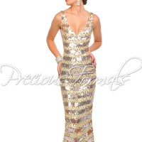 Precious Formals P8931 Sequin Illusion Gown SALE