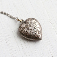 Vintage Sterling Silver Locket Necklace - Art Deco Style Filigree Love Pendant Jewelry / Embossed Vines