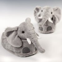 Timeless Toys Elephant Slippers, Grey, Polyester, 8 inches Small = Youth 9-2 / Womens 3-4