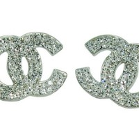 Silver Colour Plated CC Stud Earring with Clear White Crystal