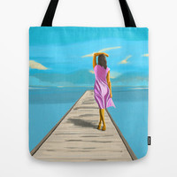 BLUE SKIES AHEAD Tote Bag by Fabrizio Cruz