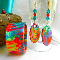Bracelet and Earrings in Waves of Blue, Yellow, Red by Polly Ceramica