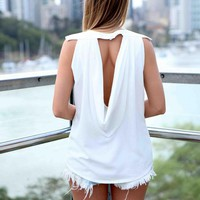 White Drape Back Sleeveless Top