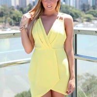 Yellow Lattice Back Plunge Neckline Dress with Layered Skirt