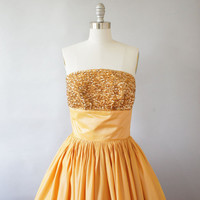 1950s dress / vintage 50s sequin party dress / Golden Apricot