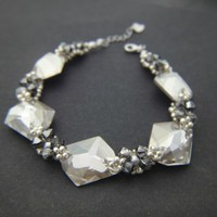 Silver Night Swarovski Cosmic Crystals Sterling Silver Bracelet