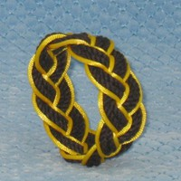 Black Sailor Knot Bracelet Outlined in yellow - medium | MysticKnotwork - Jewelry on ArtFire