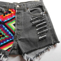 Vintage Levis High Waist Denim Shorts Aztec Print ---Waist 28 inches