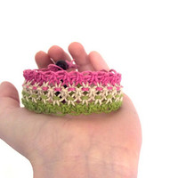 Hemp Jewelry Cuff Bracelet Pink and Green Macrame Bracelet