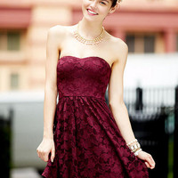 Shine Lace Strapless Dress