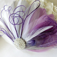 Wedding Feather Hair Accessory, Bride Bridesmaid Feather Fascinator, Peacock, Hair Piece,Lavender, Purple, Gray, White,Peacock, Hair Clip