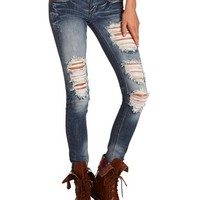 MACHINE JEANS DESTROYED DENIM SKINNY JEAN