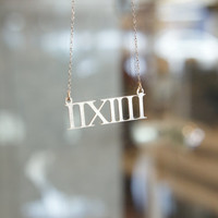 Roman numeral for Birthday, wedding and anniversary day. Sterling Silver 925, Personalized, Brush finish, Personalized Name Necklace