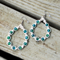 Hemp Hoop Earrings White and Blue-Green, Natural Handmade Jewelry for Women
