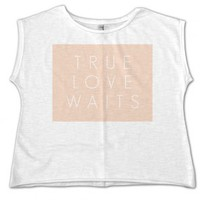 Oversize White T-shirt with True Love Waits Pink Print