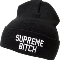 Married To The Mob Supreme Bitch Black Fold Beanie