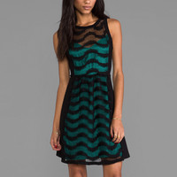 Plenty by Tracy Reese Lace Spirals Combo Frock Dress in Emerald
