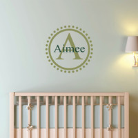 A Personalized Name and Initial Polka Dot Circle Monogram Wall Decal