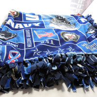 Military US Navy Digital Print Custom Made Fleece Blanket Throw