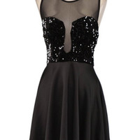 Material Girl Sequin Skater Dress - Black - $54.00 | Daily Chic Dresses | International Shipping