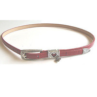 Vintage 1980s Brighton Red Skinny Moc Croc Leather Belt Heart Charm