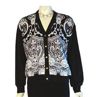St. John Sport by Marie Gray Jacket Black White Paisley