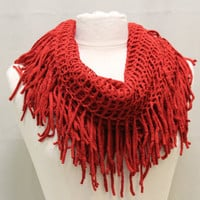 FABULOUS FRINGE in Christmas Red scarf fringe scarves knit scarf women infinity scarf tube scarves womens scarf Catherine Cole Studio SC20
