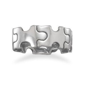 Sterling Silver Oxidized Puzzle Piece Ring / Size 7