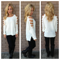 Ivory Shred Knit Sweater