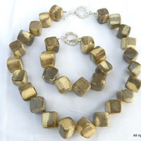 Eco Friendly Animal Print Wood Cube Bead Jewelry Necklace Bracelet Set