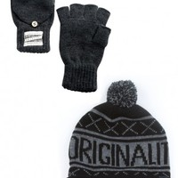 Glamour Kills Clothing - Girls Originality Is Dead Beanie + Gloves Bundle