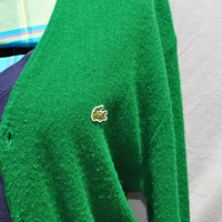 Vintage Izod LaCoste Sweater Cardigan Green Retro 1970s Preppy