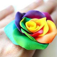 Rainbow Burst Rose Cocktail Ring by Morado on Etsy