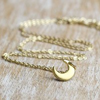 Brushed Gold Little Moon Necklace