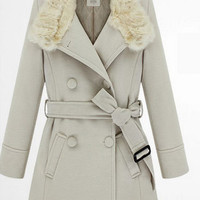 Grey Trench Coat, Belted Wool Coat for Women, Grey Winter Coat, Women Trench Coat, Sku1007
