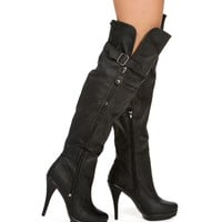 Black Knee High Heel Boot