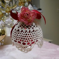 Handcrafted Glass Ball Ornament dressed in vintage doily lace paper roses ribbon on Handmade Artists' Shop